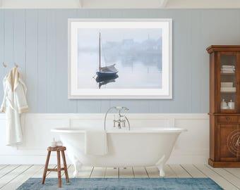 Large Nautical Photography, Sailboat Photo, Sailing Wall Art, Catboat Art Print, Nantucket Harbor Fog Picture, Large Scale Cape Cod Artwork