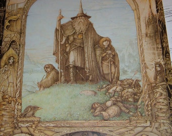 """Vintage Lord of the Rings Art poster by James Cauty 27"""" x 39""""  1988"""