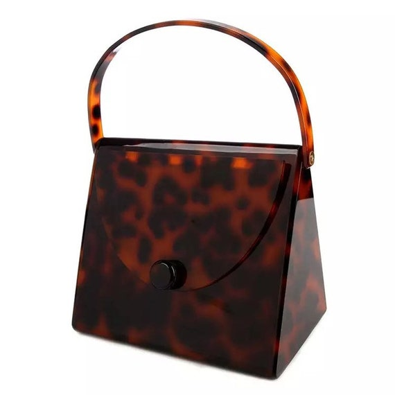 Summer tote bag Vintage-inpired tote bag Tortoise shell hollow out square tote bag