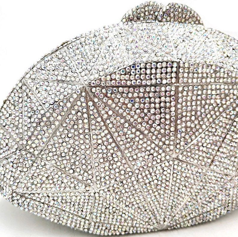 Party clutch Bridal wedding purse Evening clutch Crystal clutch clutch Diamond lattice silver frame silver crystal clutch