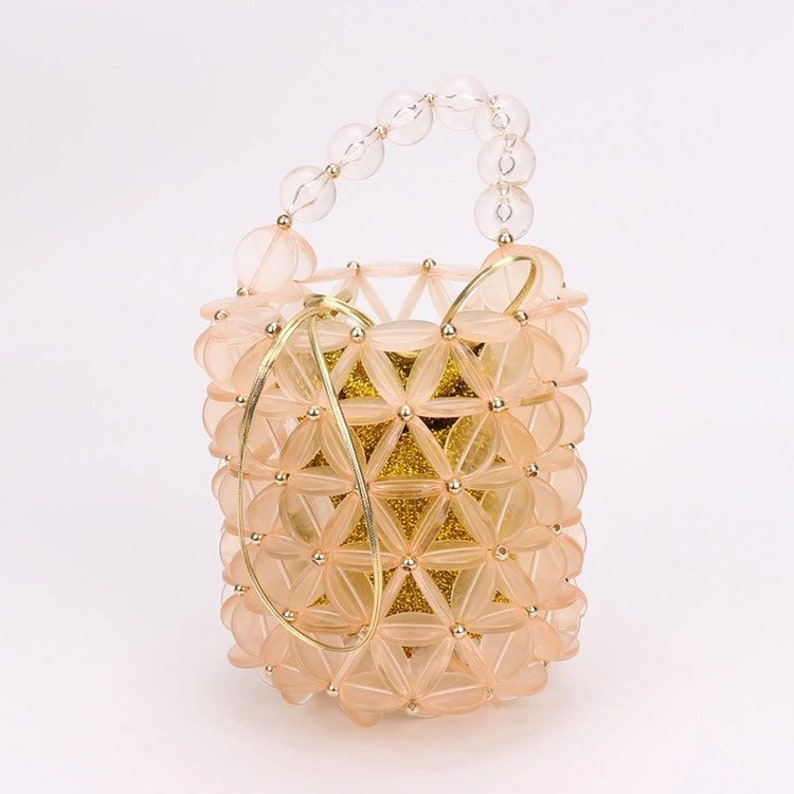 Acrylic bead mini bucket bag Frosty peach acrylic bead barrel tote bag