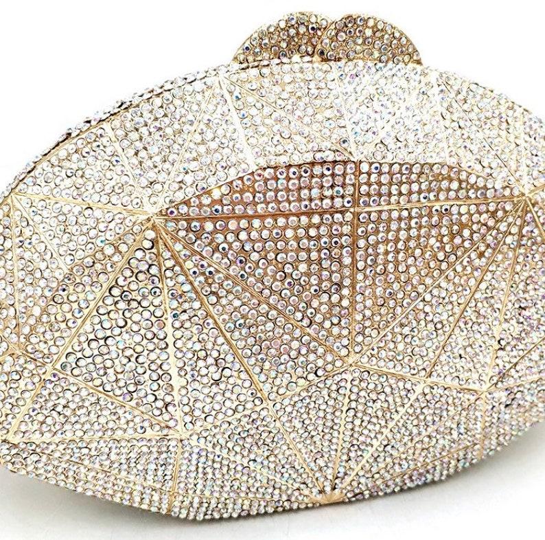 clutch Crystal clutch Evening clutch Party clutch Diamond lattice gold frame silver crystal clutch Bridal wedding purse