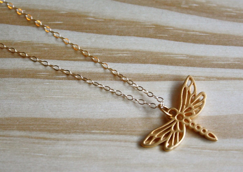 Fully Customizable High Quality Elegant Layering Necklace with Pendant 24 Karat Gold Dragonfly Necklace