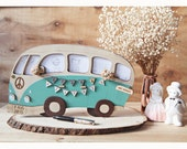 Wedding Guest Book VW Campervan - Personalized names, custom wood covers guest book, travellers guest book, vw bus, Adventure couple book