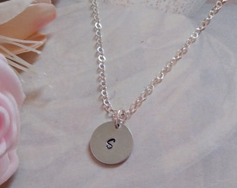 Custom Initial Necklace Personalized Bridesmaids Gifts Set of 5 Five Silver Rhinestone Crystal Monogram Necklaces