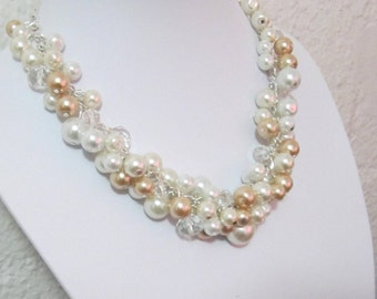 Ivory and Champagne Pearl Necklace Chunky Cluster Necklace Bridal Wedding Necklace Bridesmaid Jewelry Bridesmaid Necklace Bridesmaid Gift