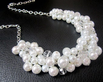Chunky Pearl Necklace, Bridesmaid Necklace, Cluster Necklace, Bridesmaids Gifts, Bridal, Wedding Jewelry, Ivory or White Pearls