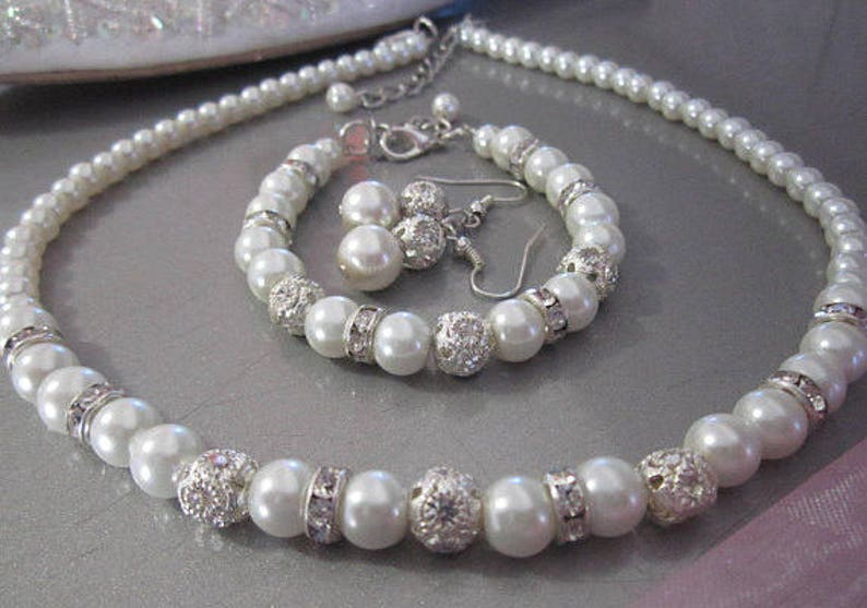 e38d649db061a Ivory or white pearl choker, Pearl necklace, bracelet earring set,  Rhinestone Crystal Bridal, Bridesmaid Jewelry, Single Strand Pearls