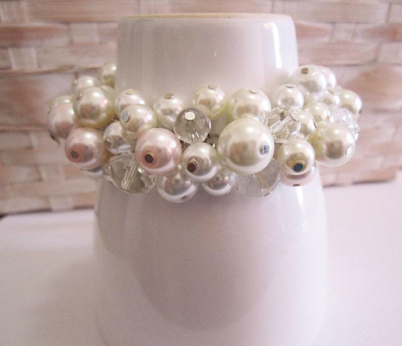 Bridesmaid Gifts Bridesmaid Bracelet Cluster Pearl Bracelet Ivory Chunky Bracelet Pearl Cluster Bracelet White and Blush Pink