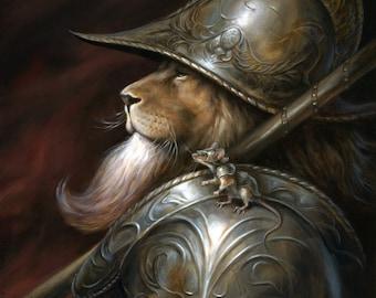 Pounce de Leòn, Lion in Armor print by Scott Murphy