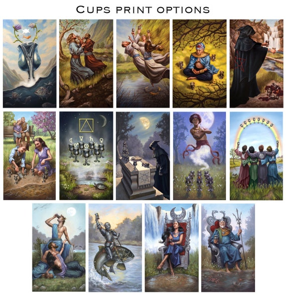Prints Modern Spellcaster S Tarot Suit Of Cups Etsy