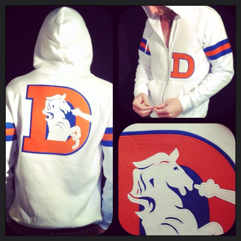 new york 3a266 51005 Denver Broncos hoodie ***WHITE*** The Throwback Varsity Hoodie by Frozen  Kiss Custom Sewn fabric retro graphics