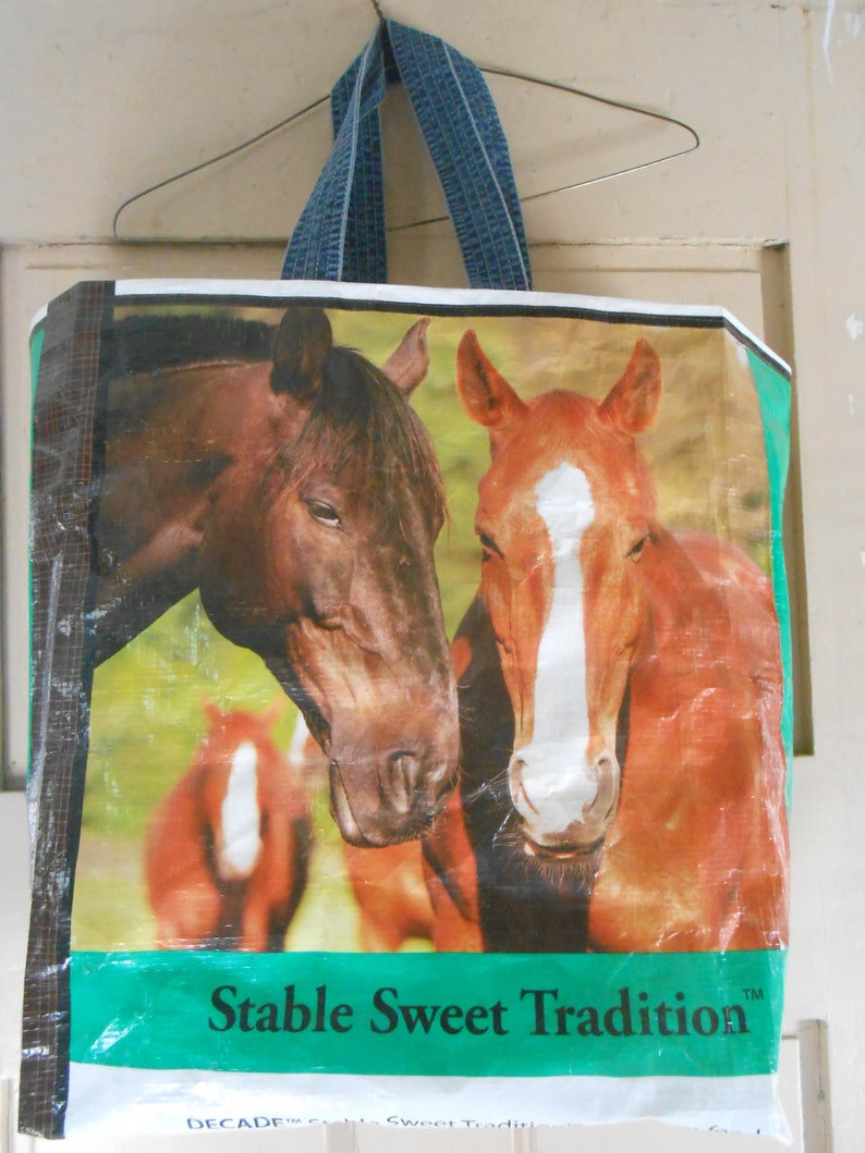 Horse bags ~ made by upcycling a beautiful Poulin horse feed bag into a sturdy re-usable tote bag!