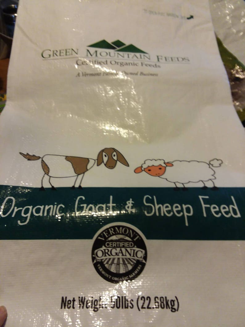 ~ feed bag up-cycled into a sturdy tote! Cartoon-style Goat /& Sheep Tote
