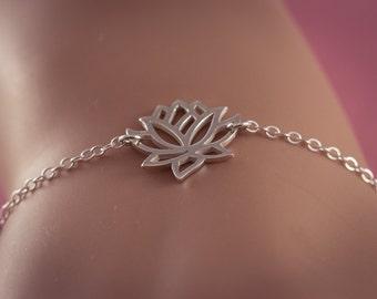 Lotus Bracelet, Yoga Bracelet, Sterling Silver Lotus Bracelet, Yoga Jewelery, Ohm Om Bracelet, Lotus Charm