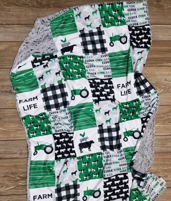 Farm Animal Minky Baby Blanket  Gender Neutral blanket  Baby Shower gift  Toddler boy gift idea  Farm Life  Patchwork Farming blanket