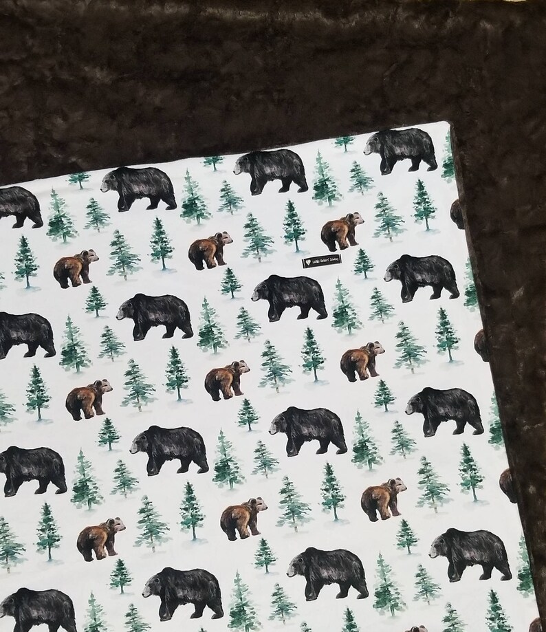 Adult Wilderness Bear Minky Adult Blanket Woodland Evergreen Gift Black bears Wilderness brown bears Nature Present Woods Bears