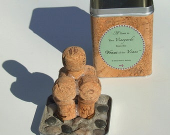 MATURE-Cork Figurine: Venus of the Vines  (tm) Deluxe Version with Cork-Wrapped Tin Case/Stand and Pebble Mosaic Lid