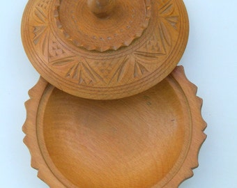 REDUCED! Rare, Vintage Hand-carved Round Wooden Bowl with Lid, Probably Yugoslavian in Origin