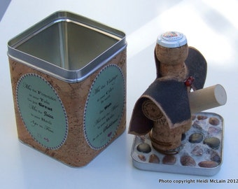 MATURE-Cork Figurine--Cork Man: The Caped Connoisseur (tm) Deluxe Version with Cork Wrapped Tin Case/Stand and Pebble Mosaic Lid