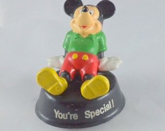 "Vintage Disney Mickey Mouse ""You're Special"" Rubber Figurine"