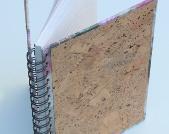 REDUCED! One-of-a-Kind Cork and Floral Wiro-Bound Notebook with Ruled Pages