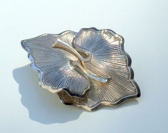 REDUCED Sterling Silver Stylized Leaf Brooch