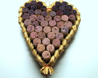 REDUCED! Cork and Raffia Heart-Shaped Wall Hanging