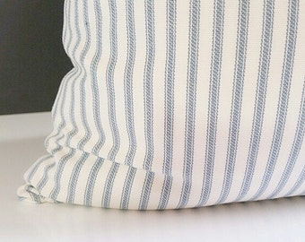Ticking Stripe Pillows -Blue and white -ticking stripe pillow cover - Pillow -  Pillow Cover Stripe Ticking Fabric - ticking stripe bedding