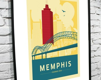 Memphis, Tennessee Skyline 11x14 Poster