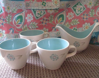 Taylor Smith, Boutonniere, Patterned Creamer 3 Tea Cups
