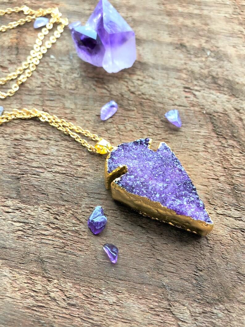 Purple Druzy Arrowhead Raw Quartz Necklace Gold Quartz Crystal image 0
