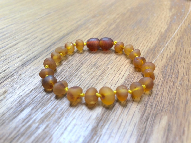 RAW Cognac Baltic Amber Teething Anklet Teething Pain Relief image 0