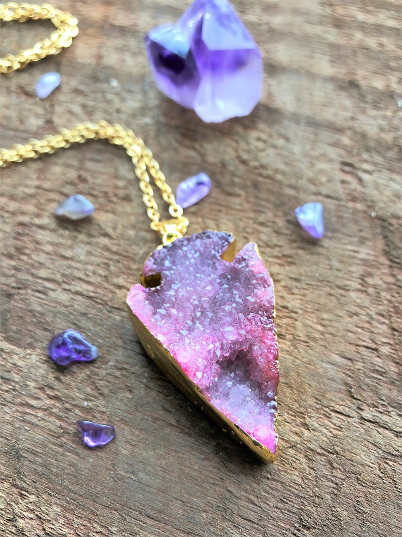 Pink and Purple Druzy Necklace Gold Dipped Arrowhead image 0