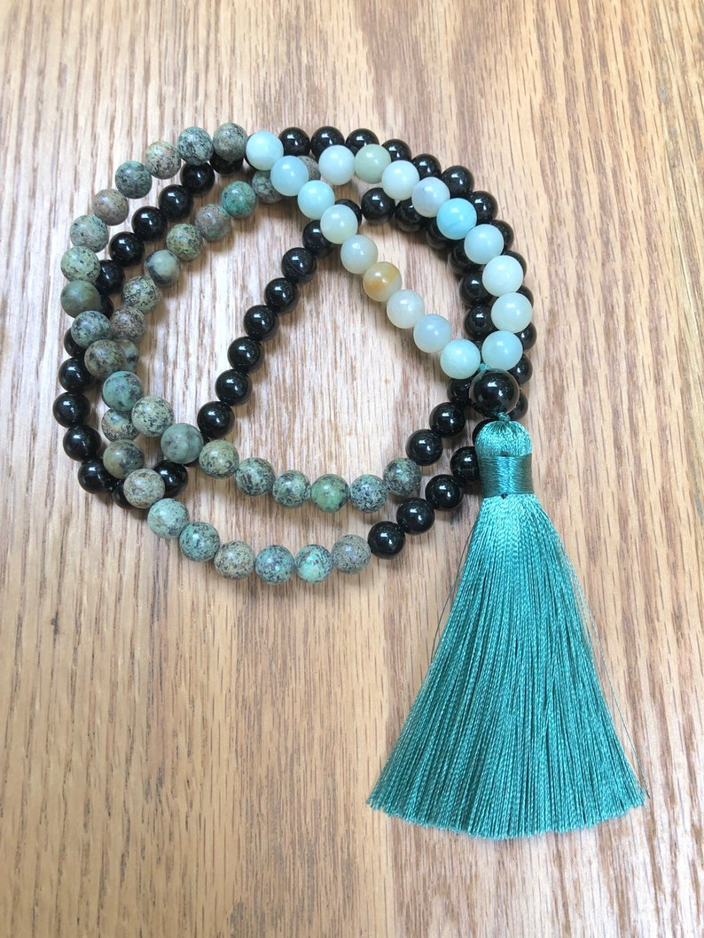 CONFIDENCE African Turquoise And Onyx Mala Beads Necklace image 0