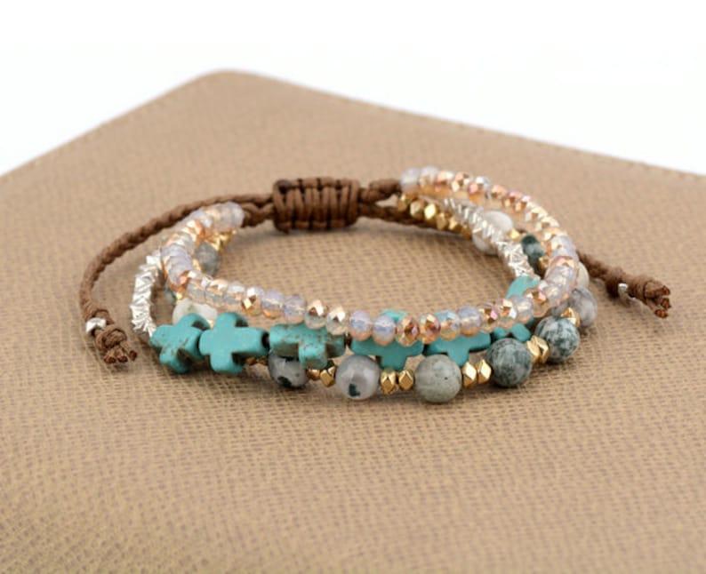Onyx Turquoise Wrap Bracelet Boho Wrap Pearl Leather image 0