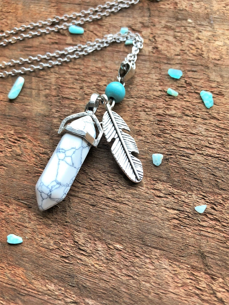 Howlite White Turquoise Feather Boho Necklace Silver Bohemian image 0