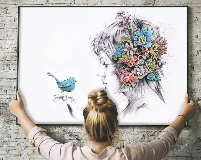 Blue - Print - Flowers in Hair and Holding a Bird
