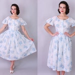 1960s BLUE FLORAL Day Dress | Vintage 60s Semi Sheer Dress | small