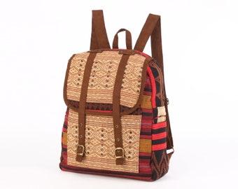 Overnight Travel Backpack Native Oriental Textile Vintage Student Backpack Day Bag