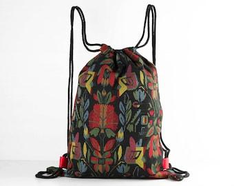 806b9fd380 Piccolo Drawstring Backpack scarpa borsa /Laundry borse tribale floreale a  righe interno foderato in raso