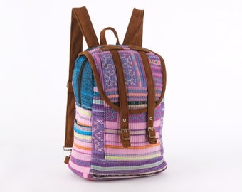 Small Exotic Blue Pink Backpack Vintage Traditional Hand Stitched Textile 953c5bc5eabbc