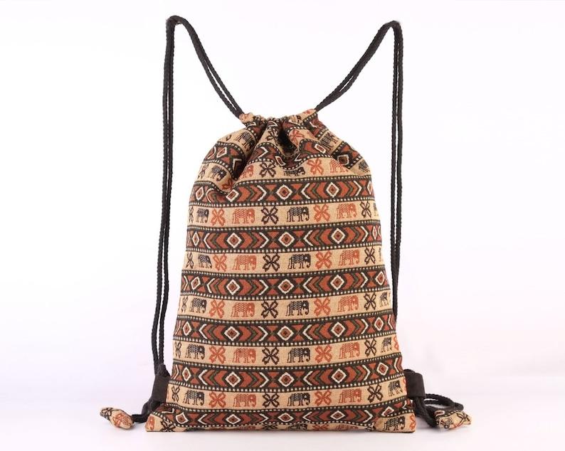 online store 1f948 71af8 Elephant Print String Backpack Knapsack Cotton Primitive Folk   Etsy