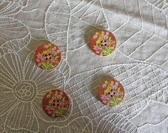 4 Brown floral wooden buttons