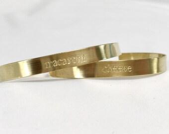 Stamped Cuff Bracelet Set / Brass Cuff / Macaroni & Cheese Best Friends / Stamped Friendship Bracelets / Mac and Cheese Friendship / Besties