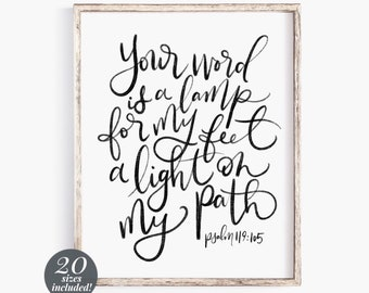 Your Word is a Lamp to My Feet Printable Wall Art Scripture | Psalm 119 105 Print | Bible Verse Prints | Farmhouse Wall Decor