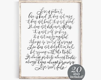 1 Corinthians 13:4-7 Printable Wall Art Scripture | Love Is Patient and Kind | Love Never Fails | Bible Verse Art | Christian Gifts