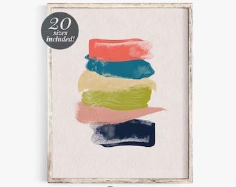 Brush Stroke Abstract Printable Wall Art  | Modern Contemporary Wall Decor | Navy Blush Pink Chartreuse Mustard Painting Abstract Art Print