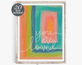 You Are Loved Abstract Printable Wall Art  | Modern Contemporary Wall Decor | Navy Blush Pink Chartreuse Mustard Painting Abstract Art Print