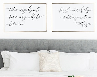 Falling In Love With You Printable Wall Art | Set of 2 Prints | Above Bed Elvis Quotes | Farmhouse Decor | Valentines Day Gifts Mothers Day